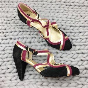 Anthropologie PETUNIA Purple Black Suede Heels